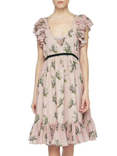 Chiffon Dress With Lily Of The Valley Print