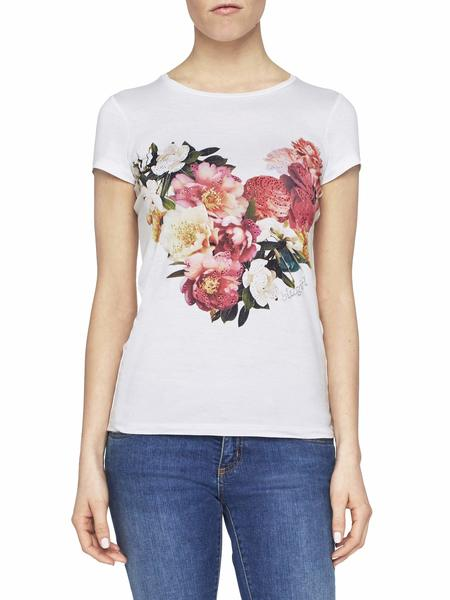 T-Shirt With Heart Of Flowers