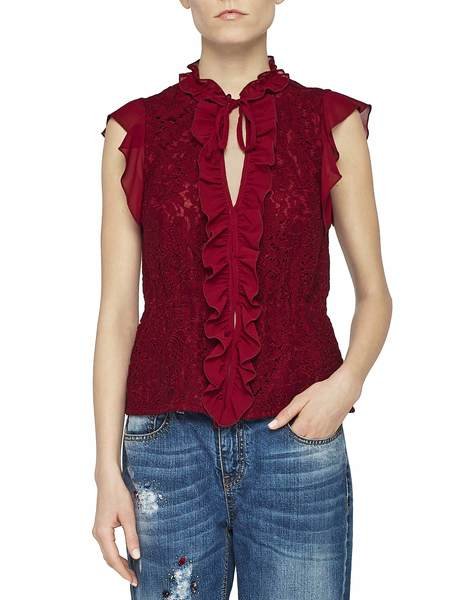 Blusa in Pizzo Con Ruches