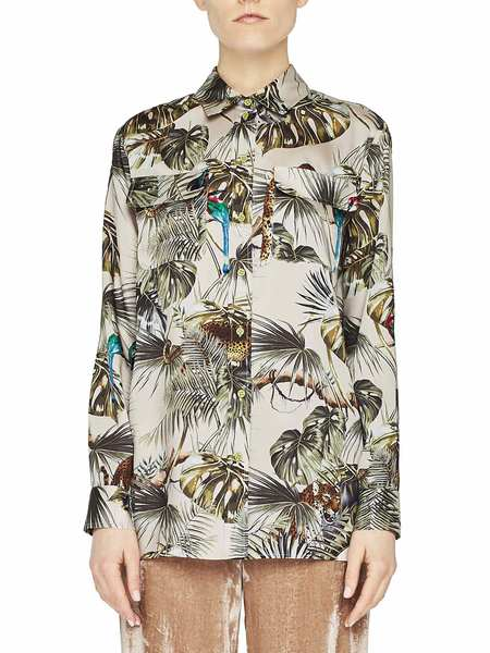 Camisa De Sarga Con Estampado Tropical