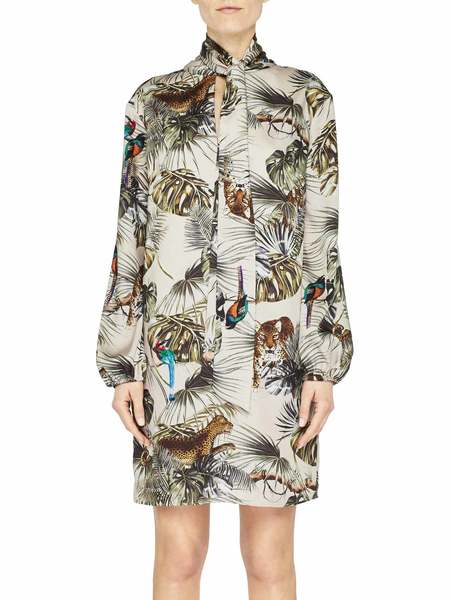 Vestido De Sarga Con Estampado Tropical Con Lazo