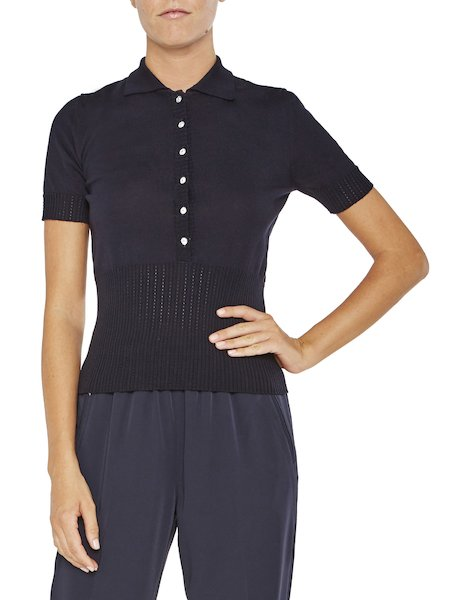 Polo shirt with openwork