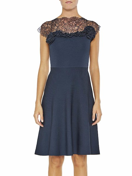 Knit dress with lace