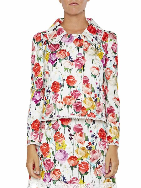 Rose print jacket with bows