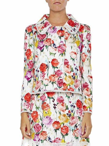 Jacke mit Rosen-Print und Besatz