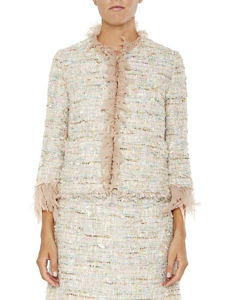 Bouclé jacket with tulle