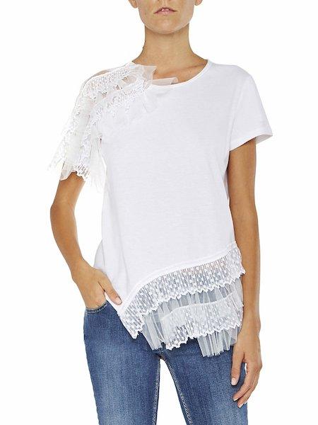 Asymmetrisches T-Shirt mit Volant