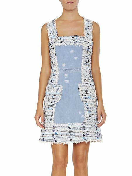 Denim dress with bouclé