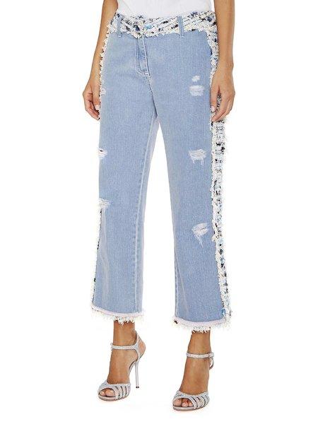 Jeans mit Bouclé-Applikationen