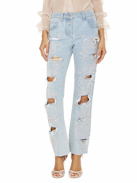 Jeans Con Strappi e Paillettes