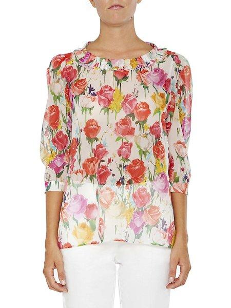 Blusa con estampado de rosas