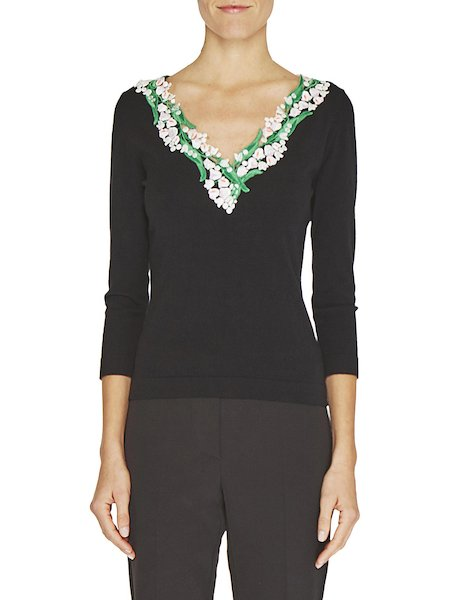 Top with lily of the valley embroidery
