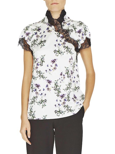 Anemone print blouse with lace