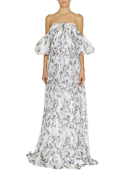 Langes Kleid mit Anemonen-Print