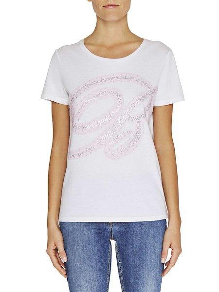 T-shirt Con Tulle e Strass
