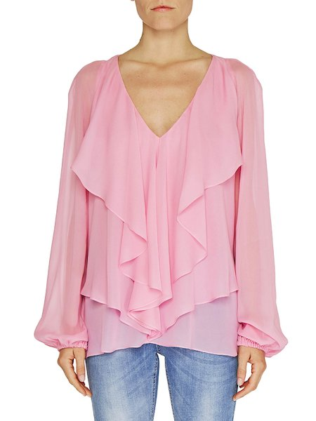 Long-sleeved blouse with flounce