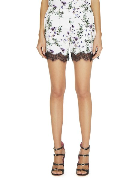 Anemone print shorts with lace