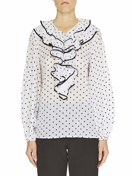 Polka dot blouse with flounce and lace