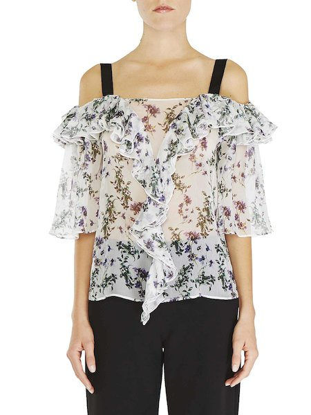 Blouse with contrasting straps