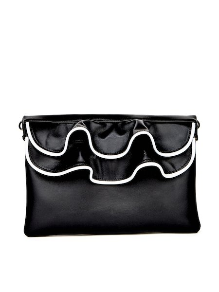 Leather clutch with flounces