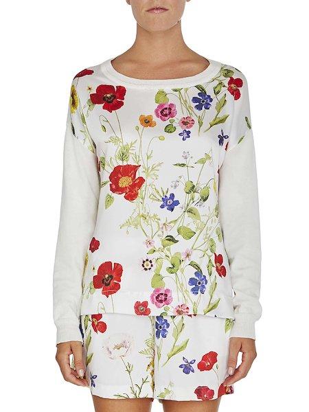 Широкая  рубашка с цветочной печатной вставкой