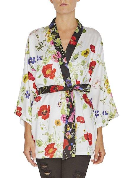 Kimono-Bluse mit Blumen-Print