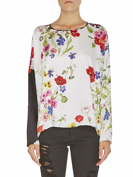 Two-colour floral print blouse