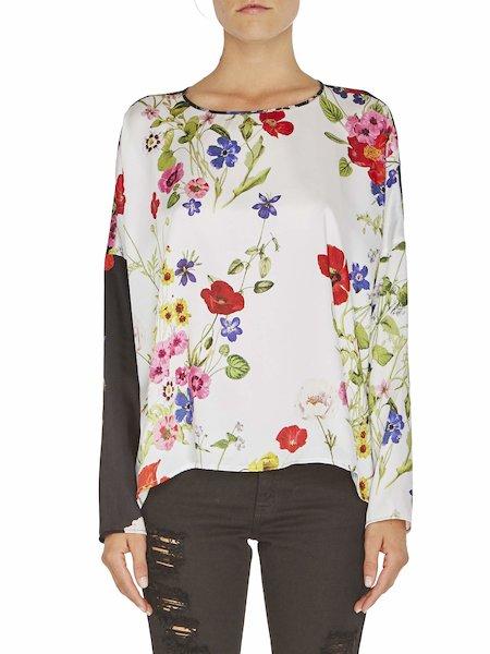 Двухцветная блузка с цветочным принтом
