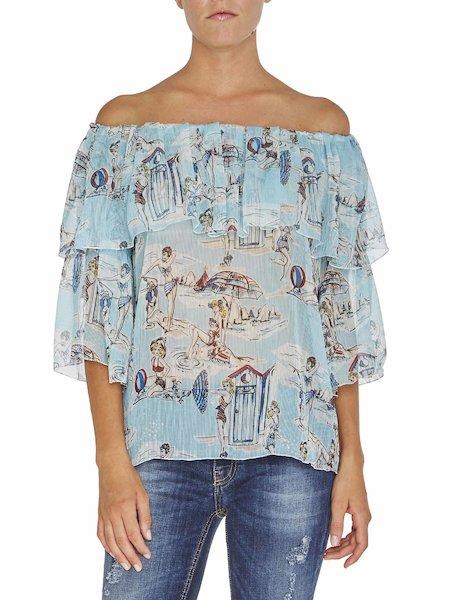 Блузка с принтом «Пляж»
