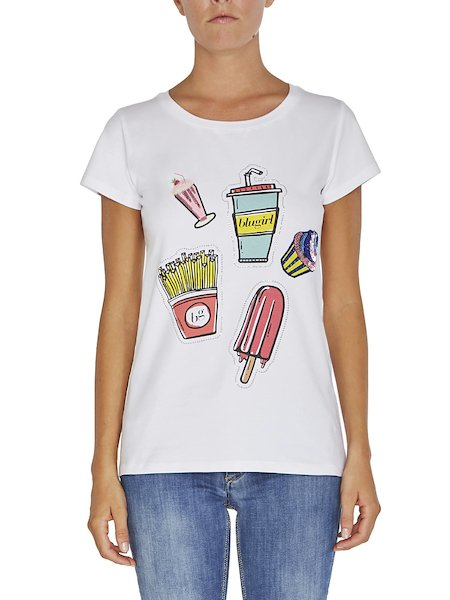 T-shirt imprimé orné de strass