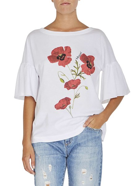 T-shirt à imprimé coquelicots
