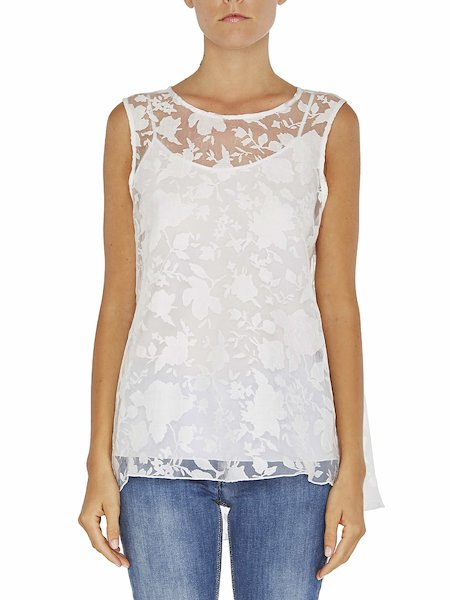 Блузка без рукавов с цветами деворе