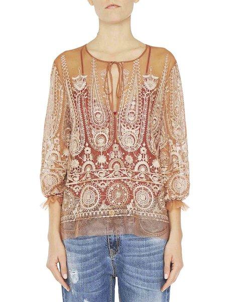 Блузка из тюля с вышивкой