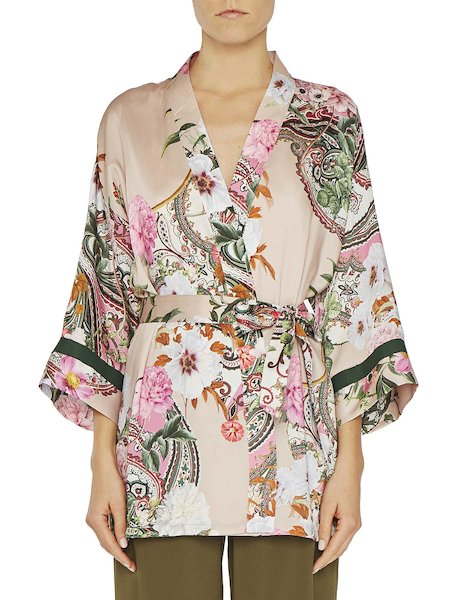 Blusa kimono con cinturón