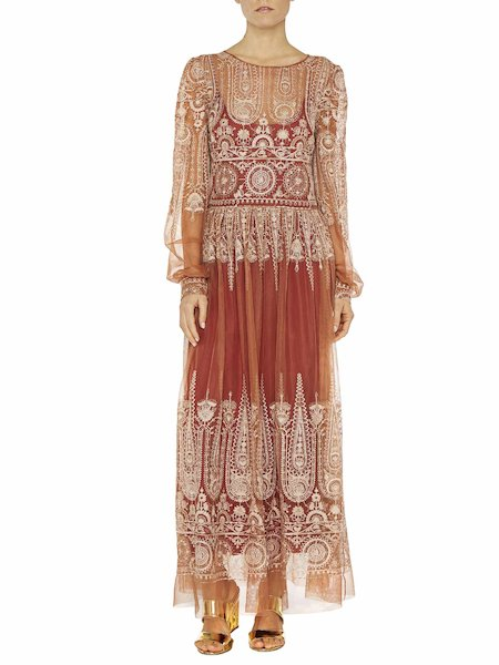 Длинное платье из тюля с вышивкой
