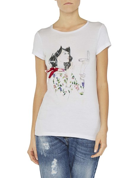Camiseta estampada con strass