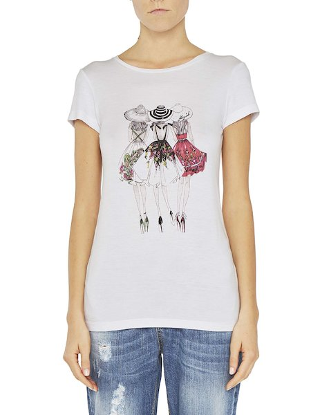Printed T-shirt with rhinestones