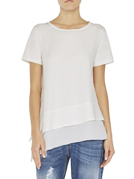 T-shirt avec strass et volant