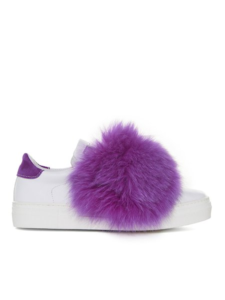 Sneakers with fur applications - pink
