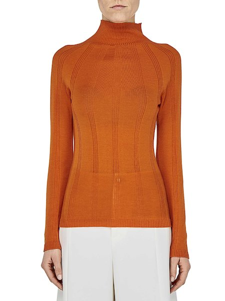 Turtle-neck sweater in cashmere and silk