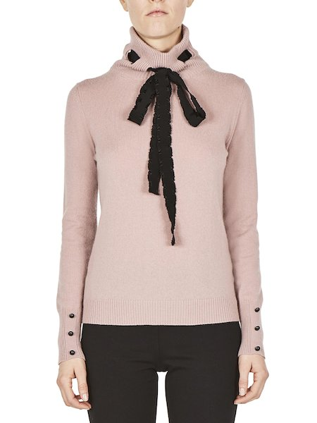 Turtleneck sweater with contrasting ribbon - pink