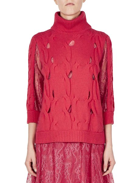 Turtleneck with openwork and lace - red