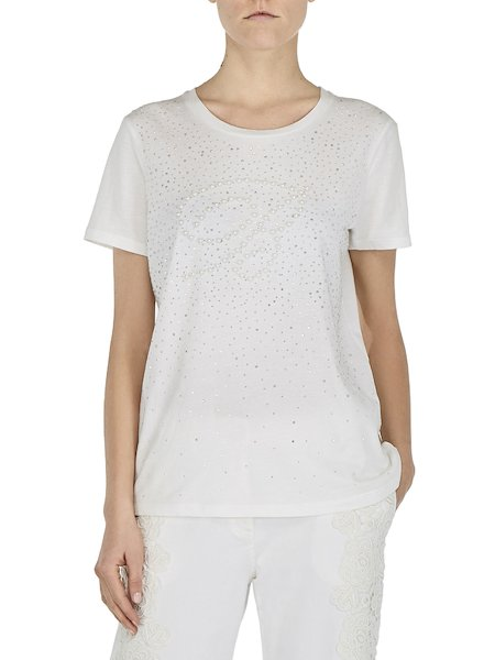 T-shirts with rhinestones and beads - white