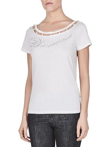 T-shirt in jersey with logo and pearls