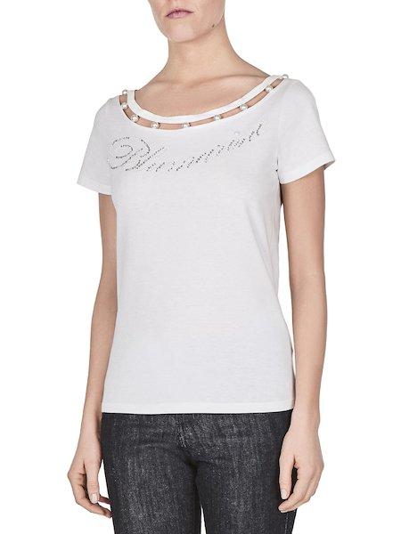 Camiseta de punto con logo y perlas - Blanco