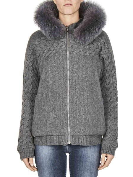 Reversible jacket with fur hood
