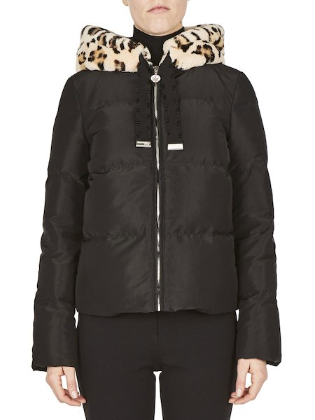 Down-filled jacket with hood in printed rabbit fur