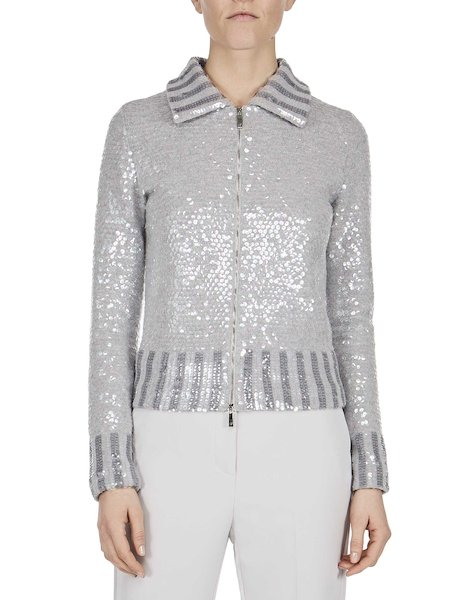 Knit jacket with sequins
