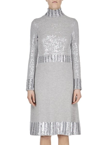 Knit dress with sequins - Grey