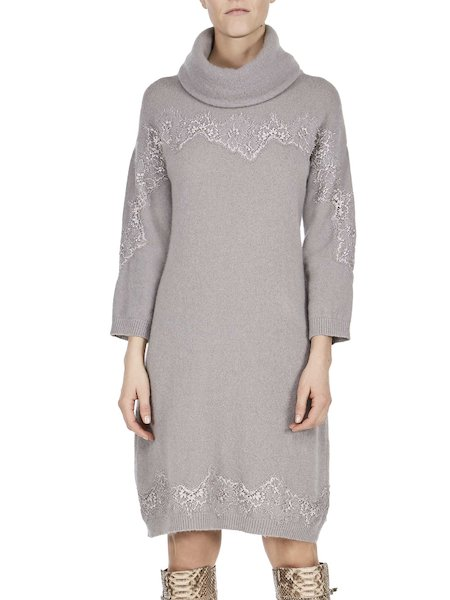 Knit dress with lace detailing - Grey